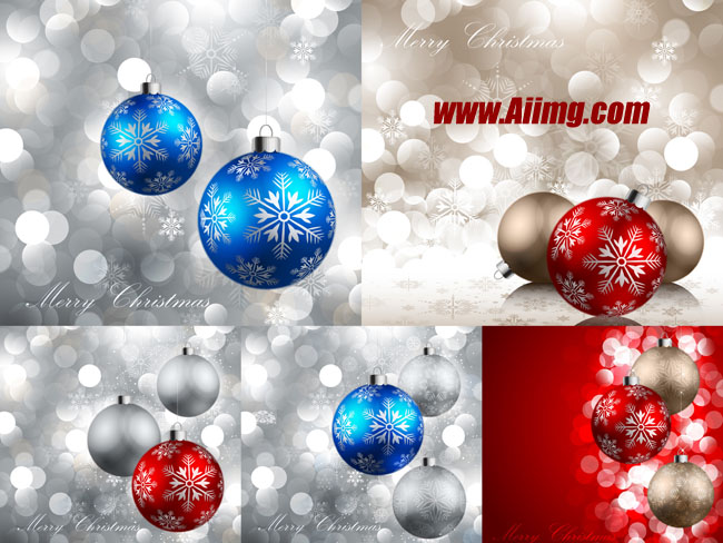 圣诞节挂球梦幻高光背景矢量素材