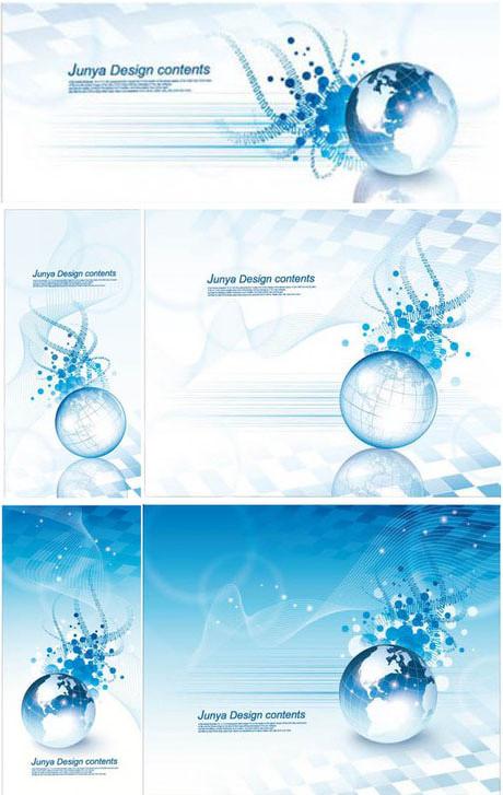 蓝色水晶地球banner矢量素材