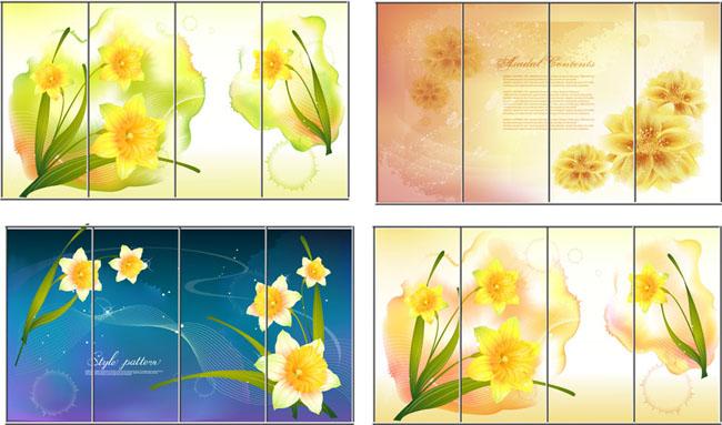 梦幻花朵矢量背景蝴蝶花卉手绘风格移门图案广告设计ai矢量素材矢量图