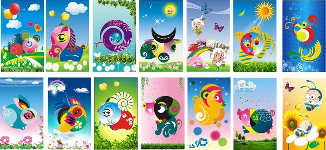 幼儿园卡通壁画展板设计矢量素材