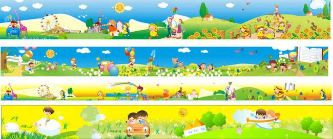 超可爱卡通女孩矢量素材 儿童卡通插画元素矢量素材 幼儿园墙体卡通