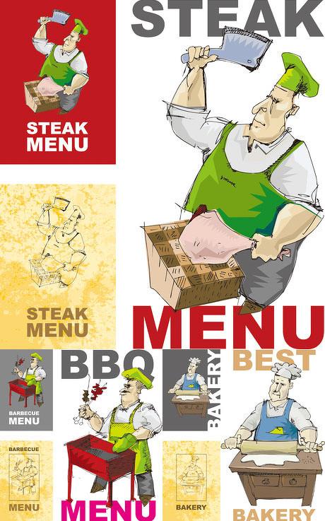 烧烤菜单背景设计矢量素材