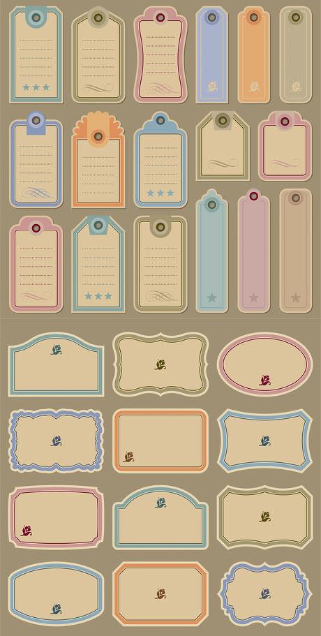 便签便利贴记事簿可爱清新牛皮纸标签免费矢量素材