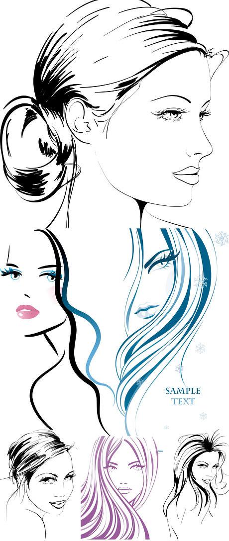 简笔画 女人图片_简笔手绘美女矢量素材 - 爱图网设计图片素材下载