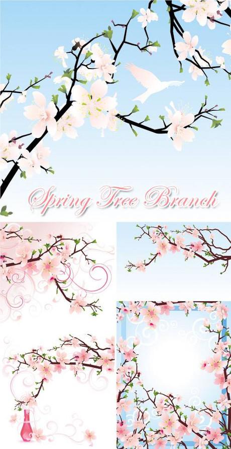 唯美 桃花 花朵 花 桃枝 春天 含苞待放 花瓶 丝带 鸟 免费 冬季 矢量