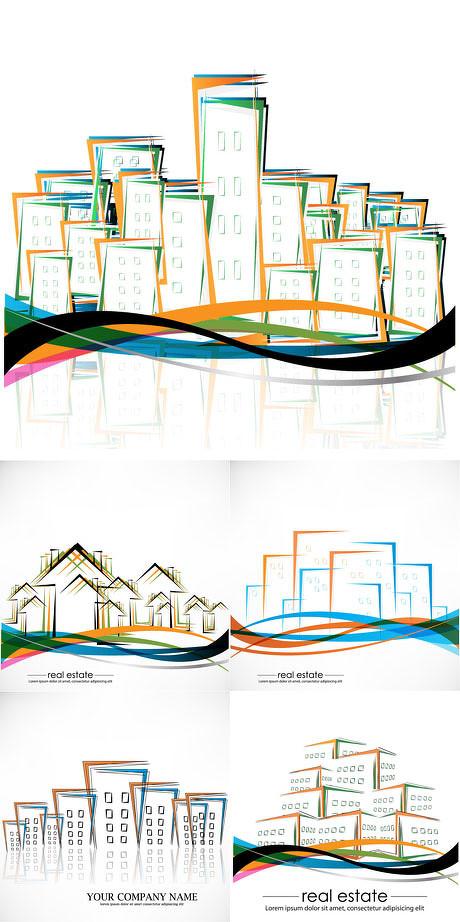色彩彩色动感线条抽象楼房房子建筑房屋免费矢量素材
