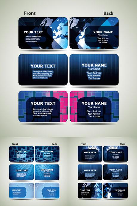 蓝色科技感卡片背景矢量素材