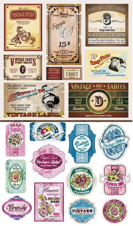 复古欧式图案卡片背景矢量素材