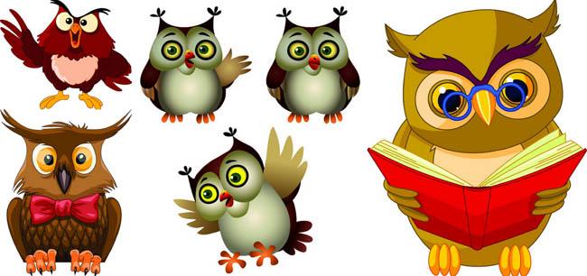 爱图首页 矢量素材 自然生态 猫头鹰 可爱 卡通 动物 戴眼镜 看书