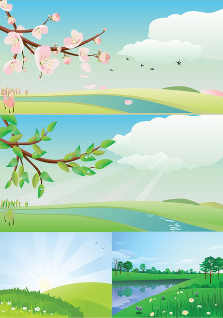 绿色大自然矢量插图