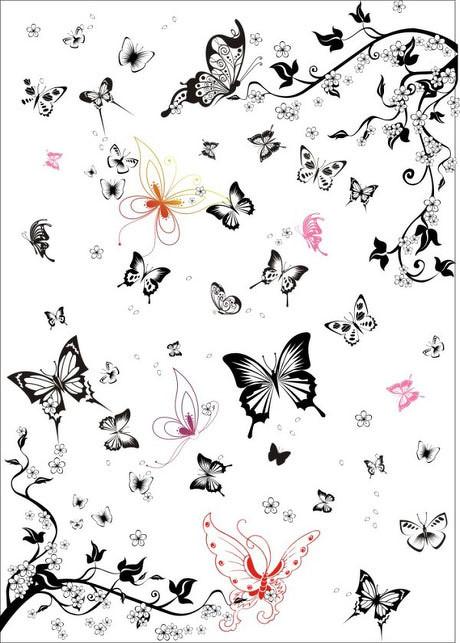 黑白蝴蝶矢量图集 - 爱图网设计图片素材下载