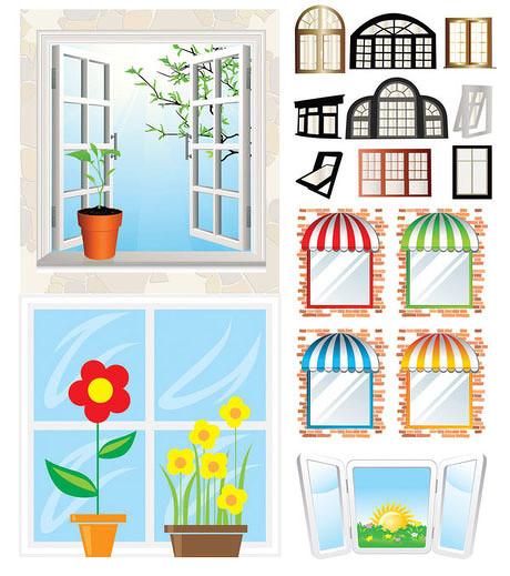 窗户窗台花盆矢量素材