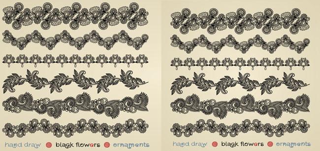 手绘花朵花纹边框装饰矢量素材