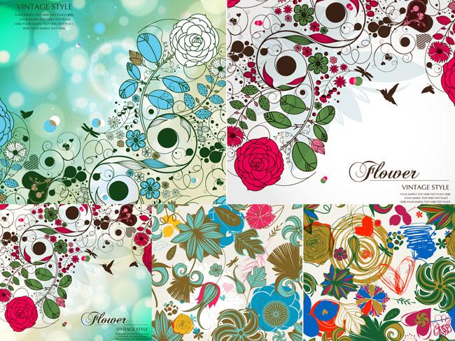 复古花卉花朵梦幻背景矢量素材