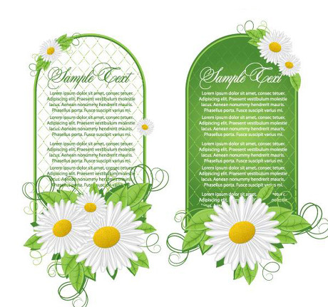 鲜花绿叶装饰横幅矢量素材