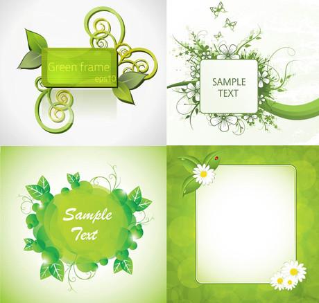 绿色植物矢量素材 绿色树叶图案矢量素材 绿色诗意蒲公英插图文本框