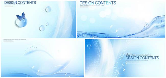 晶莹水珠气泡水面背景矢量素材