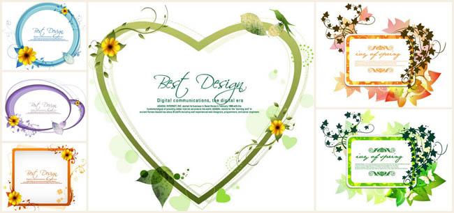 鲜花绿叶蝴蝶花纹装饰边框矢量素材