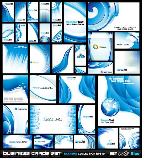 蓝色波纹水珠浪花企业vi形象设计矢量素材