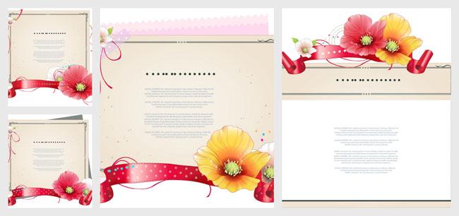 鲜花丝带装饰边框背景矢量素材