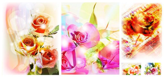 彩绘玫瑰花背景矢量素材