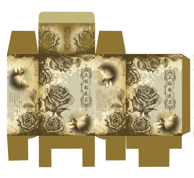 茶叶包装盒展开图psd素材