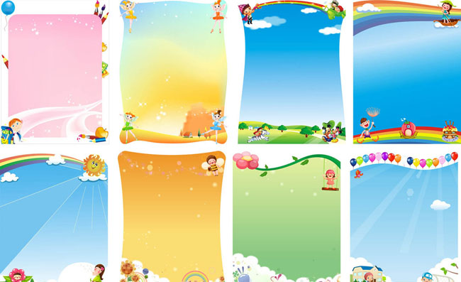 幼儿园卡通展板设计矢量素材