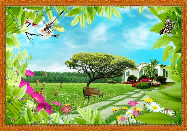 别墅 鲜花 蜻蜓 绿叶 蝴蝶 长椅 大树 春天 绿色 天空 家园 草地 相框