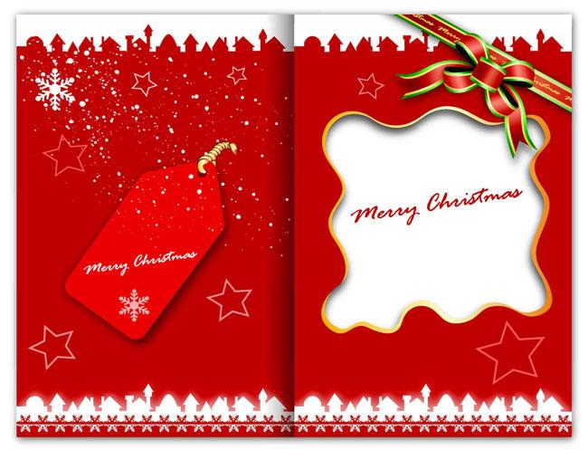 红色圣诞贺卡模板矢量素材