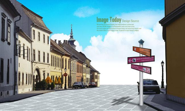 西方城市街道场景设计PSD素材图片
