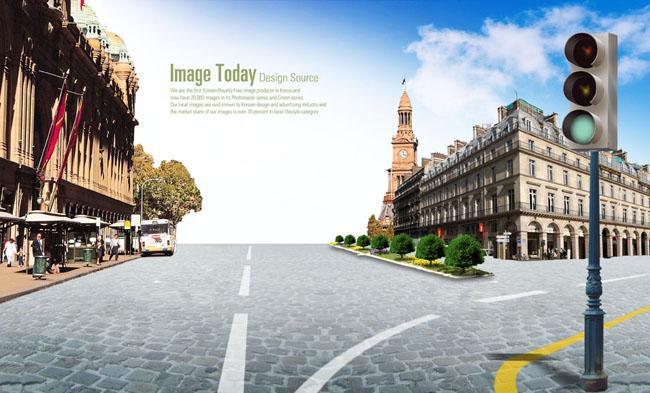 欧式铺砖街道psd素材图片