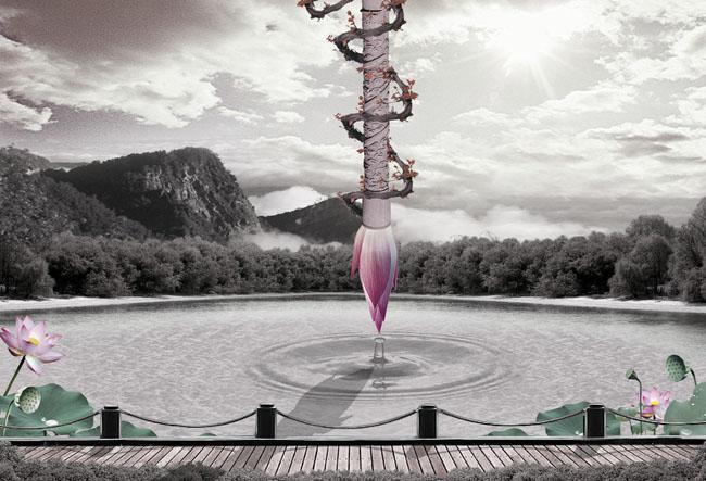 创意毛笔荷花中国风海报设计psd素材