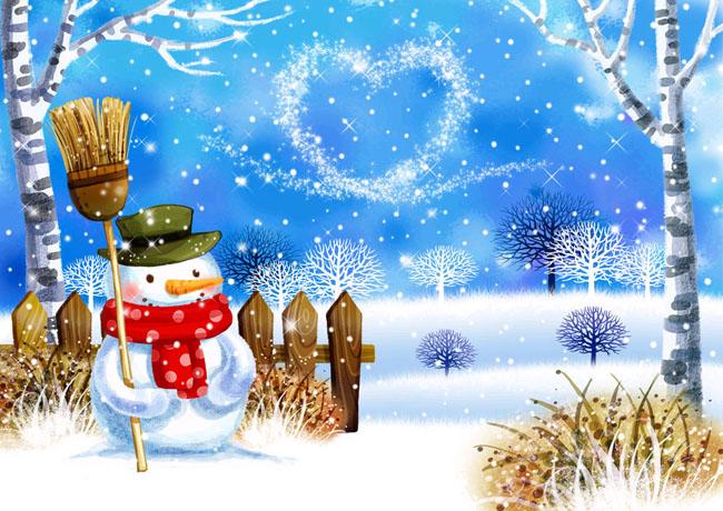 手绘插画冬天插画psd分层素材源文件300dpipsd插画风景风景自然景观ps