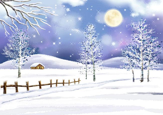 手绘插画 冬天插画 psd分层素材 源文件 300dpi psd 插画风景 风景 自