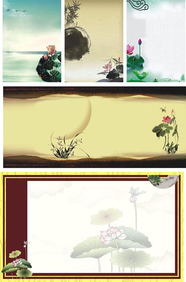 荷花水墨画矢量图_水墨古典展板背景矢量素材 - 爱图网设计图片素材下载