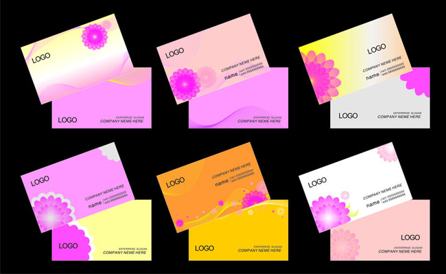 可爱粉色名片卡片设计矢量素材