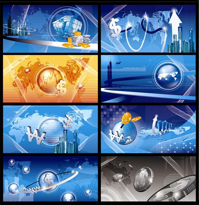 蓝色金融通信海报背景设计矢量素材
