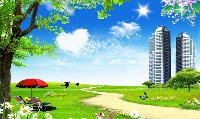 春天 美丽的春天 风景 花园 蓝天 白云 草地 心云 高楼大厦 大树 遮阳