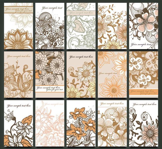 古典 怀旧 复古 欧式 时尚 潮流 梦幻 花纹 花朵 花卉 手绘 名片 卡片