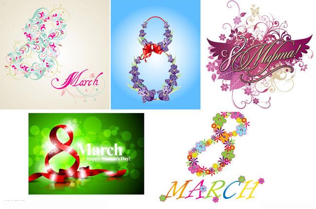 三八妇女节时尚花纹花卡矢量素材