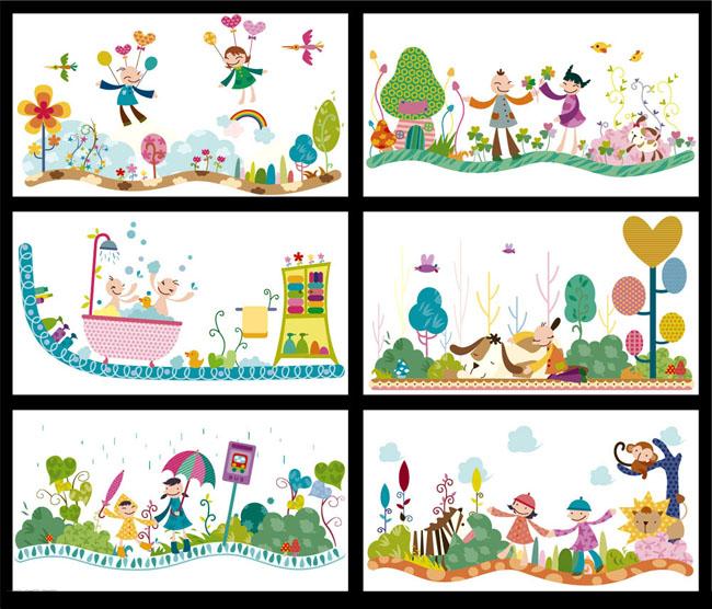 卡通画框 矢量风景 矢量人物 彩铅画 水彩画 剪纸 版画 手绘 可爱