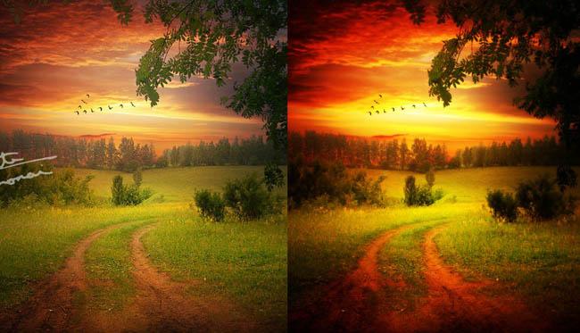灰蒙蒙的数码照片变清晰调色动作 风景照唯美效果调色动作ps素材图片
