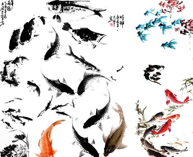 水墨画鱼psd分层素材图片