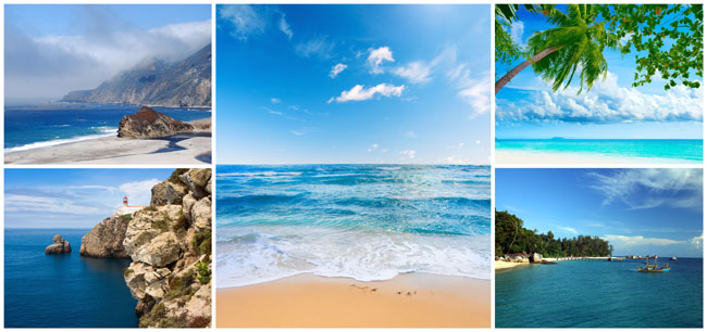 关键字: 海景海边风景大海礁石闪电蓝色白云潮夕风景图片高清图片