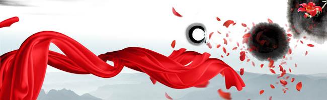 舞动的红飘带海报背景设计psd素材