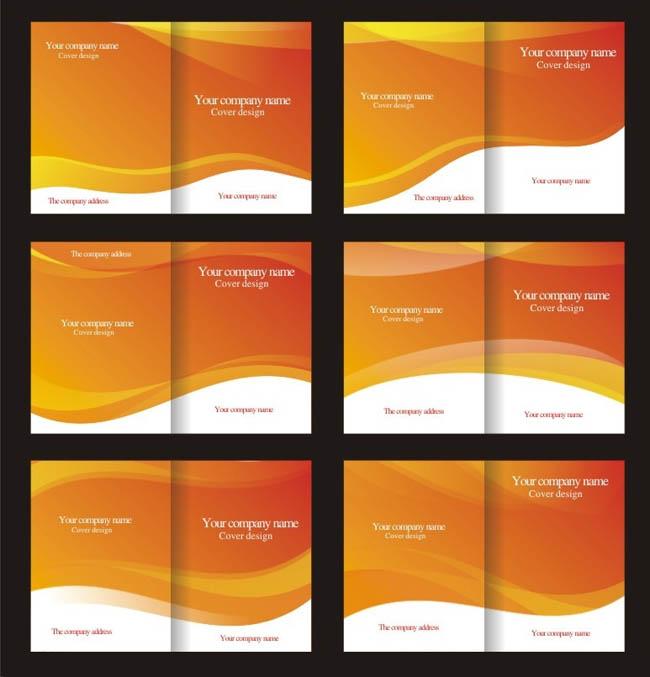 动感橙色画册封面设计矢量素材