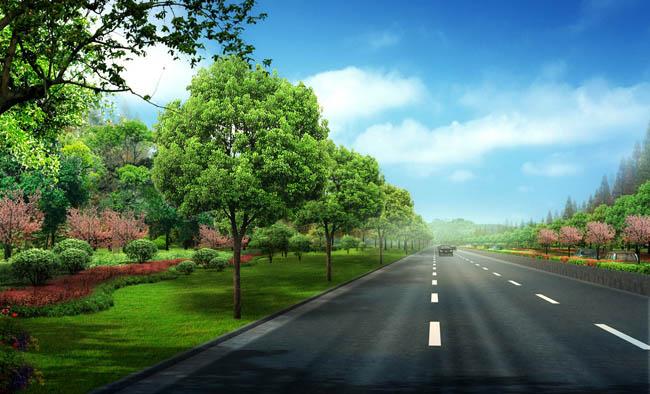 城市道路景观设计psd素材图片