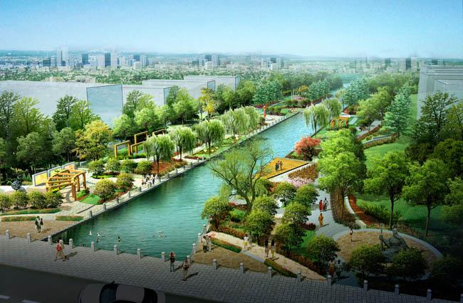 河道 公园 鸟瞰 图 PSD 素材 爱图网设计图片素材