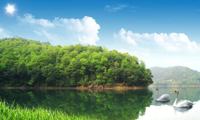 风景与风车psd素材 别墅田园风景psd分层素材 别墅景色psd素材 湖畔