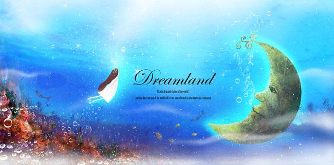 海底世界 水中月亮 卡通女孩唯美童话 海底世界 气泡 月亮 手绘 星光